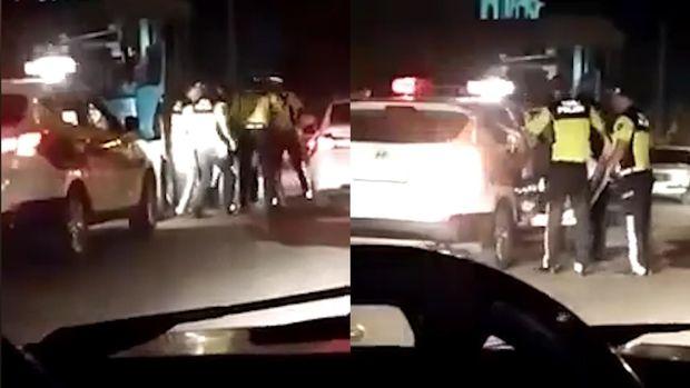 Masallıda polislər traktor sürücüsünü döydü - VİDEO