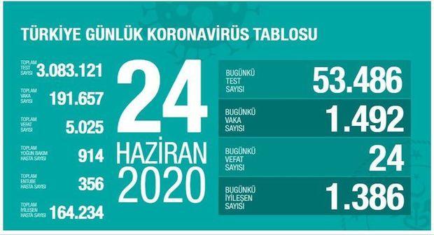 Türkiyədə son sutkada 24 nəfər koronavirusdan ölüb
