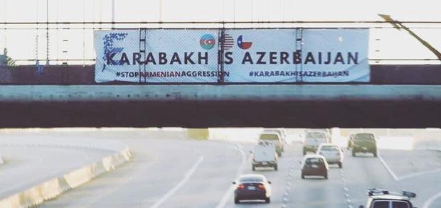 """Hyustonun mərkəzində """"Qarabağ Azərbaycandır!"""" şüarı nümayiş etdirilib"""