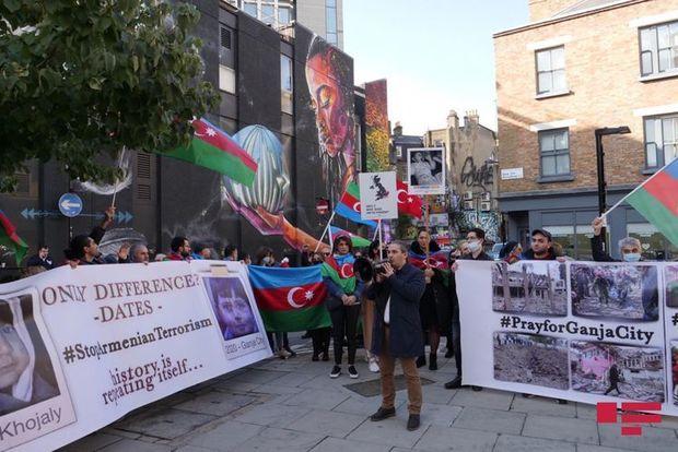 """Britaniyada yaşayan azərbaycanlılar """"Amnesty International""""ın binası qarşıs ..."""