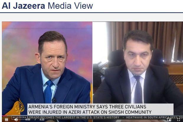 """Prezidentin köməkçisi Hikmət Hacıyevin """"Al Jazeera"""" televiziya kanalına müs ..."""