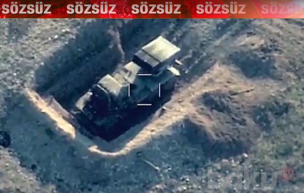 Erməni işğalçılarının hərbi texnikasının məhv edilməsi görüntüləri - VİDEO