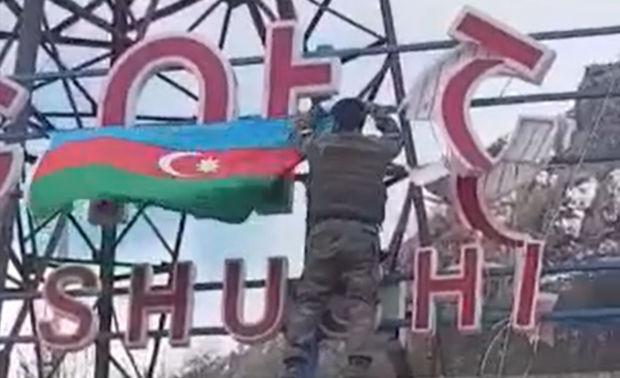Şuşaya Azərbaycan bayrağının sancılmasının görüntüləri - VİDEO
