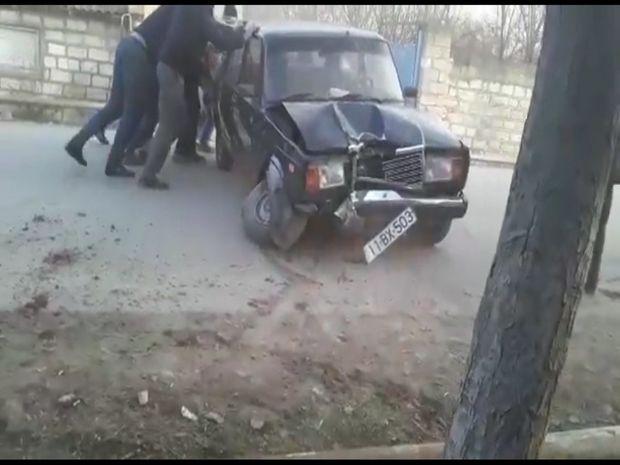 Beyləqanda avtomobil qaz xəttini zədələyib - VİDEO