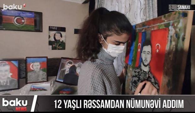 12 yaşlı rəssamdan nümunəvi addım - VİDEO