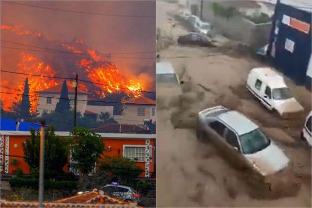 İspaniya təbii fəlakətlərin cəngində: Bir tərəfdən vulkan, bir tərəfdən daşqın - VİDEO